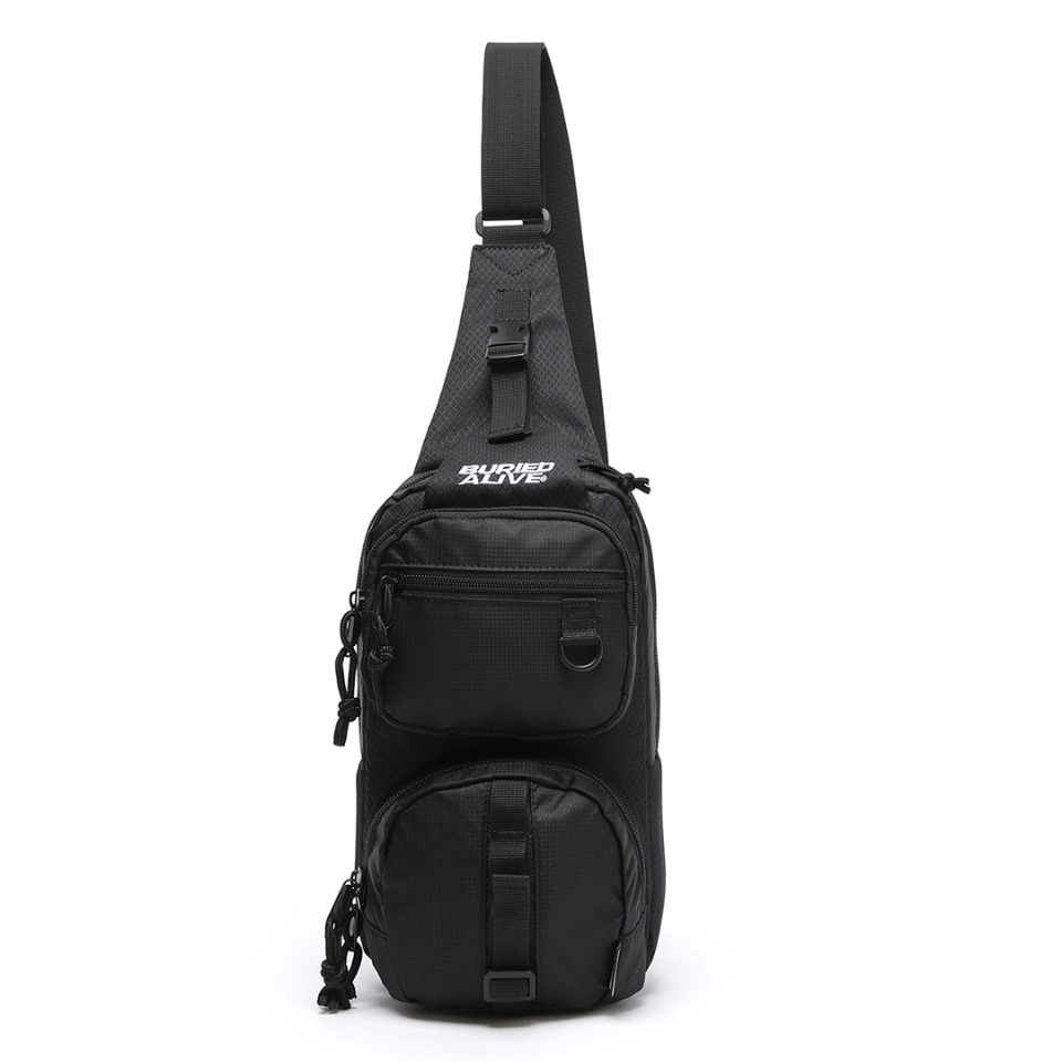 BA X UNION GRID SLING BAG TWO - BLACK